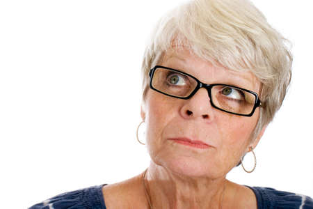 Mature woman remembering something Stock Photo