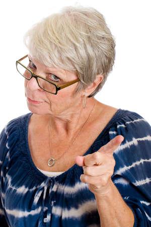 Tsk tsk van een strenge volwassen vrouw Stockfoto - 10698862