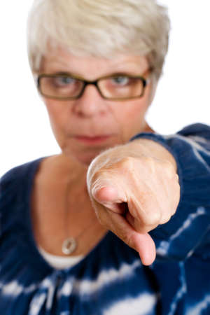 judges: Stern woman pointing a finger Stock Photo