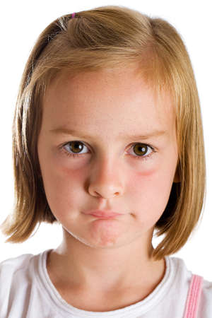 solemn: cute girl with solemn expression on her face