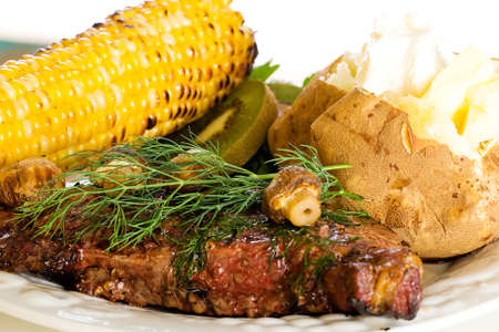 Grilled steak dinner photo