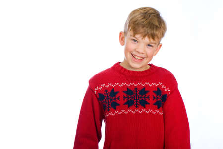 handsome young boy in a red sweater Stock Photo