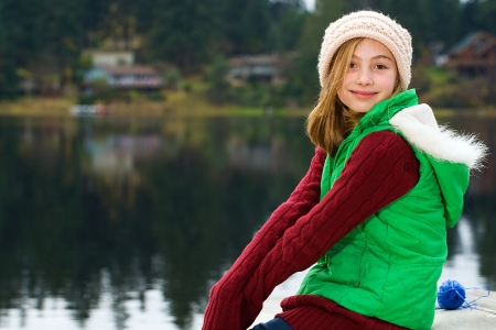 the girl in stockings: cute young girl with a pretty smile Stock Photo