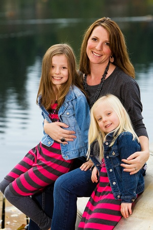 Mother and Daughters at a lake