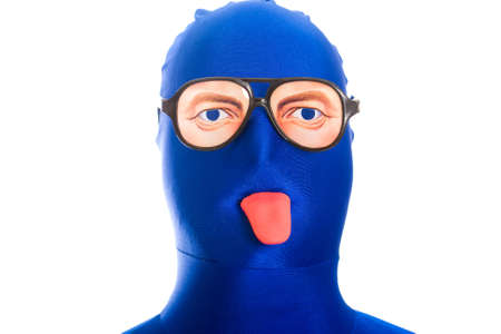 anonymous, faceless man in a blue mask with weird glasses and toy tongue