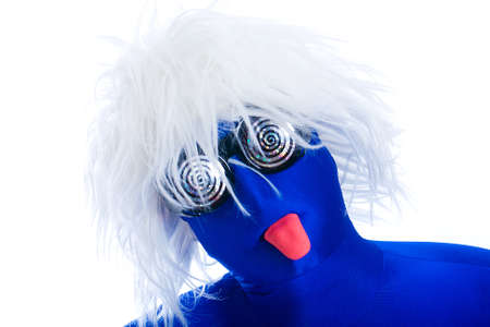 novelty: anonymous, faceless man in a blue mask with white wig and toy tongue