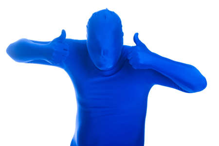 featureless: anonymous, faceless man in a blue mask with two thumbs up
