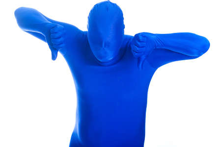 anonymous, faceless man in a blue mask with two thumbs down photo