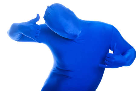 featureless: Faceless, anonymous man in a blue body suit givng Hang Loose sign.