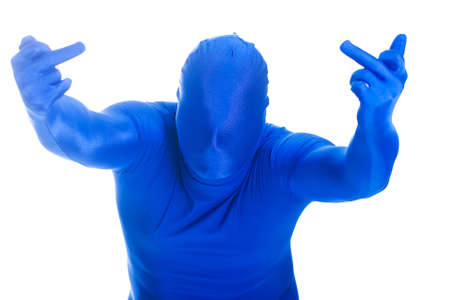 flipping: Faceless, anonymous man in a blue body suit flipping the bird in an angry gesture.