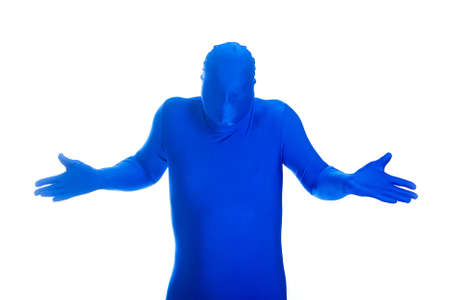 featureless: Faceless, anonymous man in a blue body suit expressing innocence.