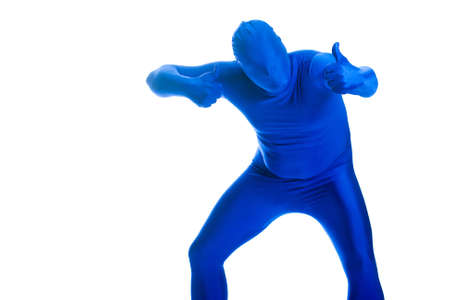 featureless: Faceless, anonymous man in a blue body suit giving two thumbs up.
