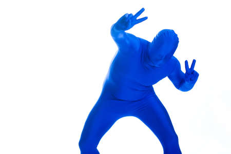 featureless: Faceless man in a blue body suit with a peace sign