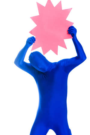 bodysuit: Faceless man in a blue body suit with a blank pink sign Stock Photo