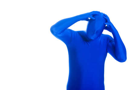 Anonymous, faceless Blue Man with a headache Stock Photo - 11808537