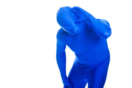 audible: Anonymous, faceless Blue Man trying to hear something