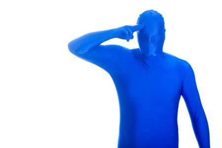 Anonymous, faceless Blue Man saluting Stock Photo - 11808536