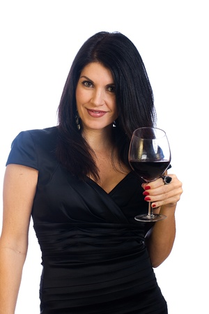 Beautiful middle aged woman drinking a glass of red wine 스톡 콘텐츠