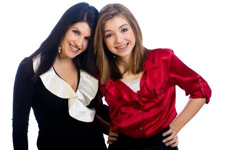 Middelbare leeftijd moeder en tiener dochter