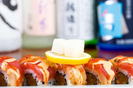Fresh raw fish sushi rolls at an Asian cuisine restaurant Stock Photo - 12251126