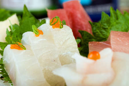 Raw Fish at a Fine Dining Sushi Restaurant photo