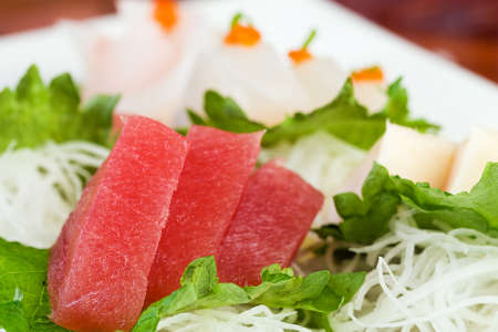 ahi: Fresh, Sashimi grade raw Ahi tuna at a Sushi restaurant. Stock Photo