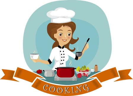 chef cocinando: Mujer cocinando Vectores