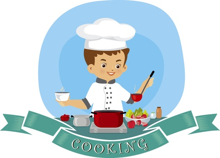 meat soup: A vector illustration of a young man cooking in the kitchen Illustration