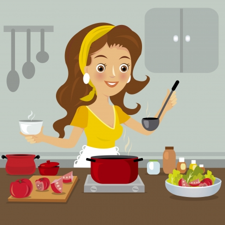 Woman in kitchen Vector