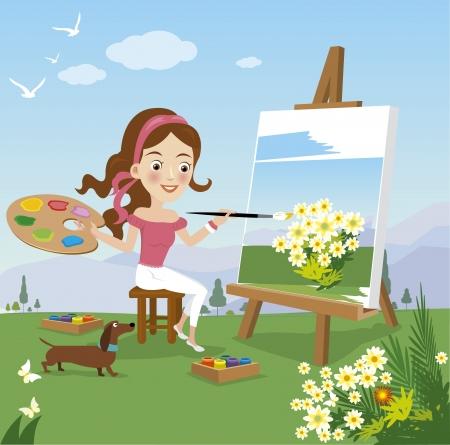 femme dessin: Femme peinture sur toile