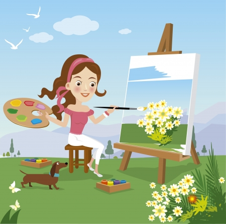 Woman paint on canvas  Vector