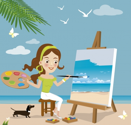 artist painting: Woman paint on canvas
