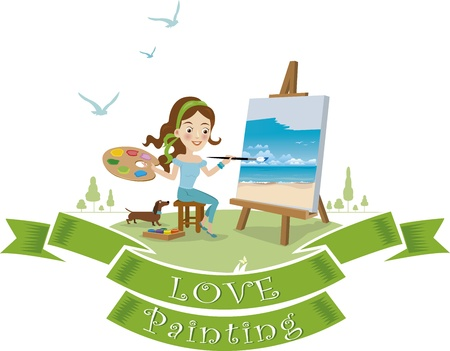 Woman paint on canvas Stock Vector - 21184929