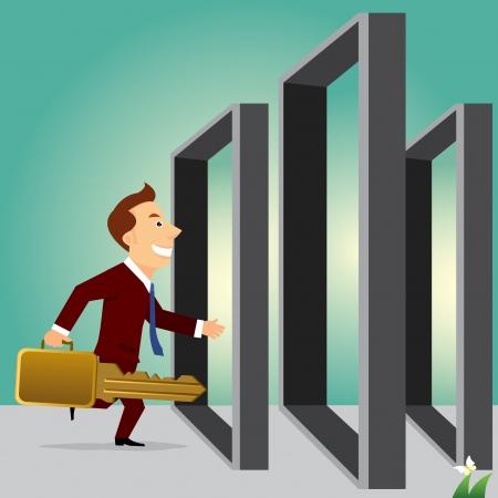 open doors: hombre de negocios