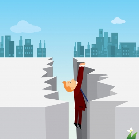 fiscal cliff: businessman  Illustration