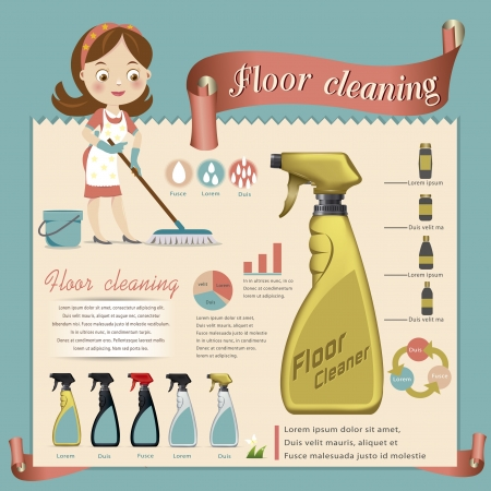 cleaner worker: Piso limpio ilustraci�n vectorial Vectores