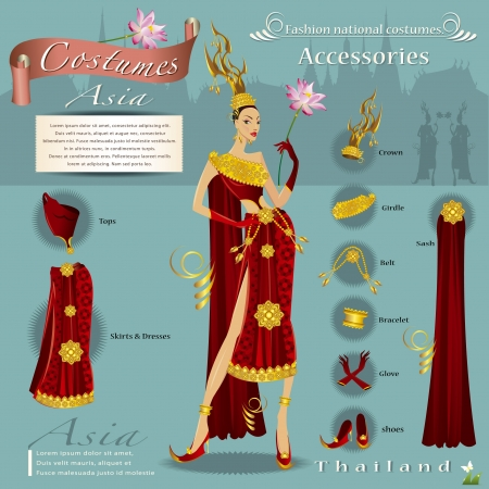 Fashion Design infographic The Asian nation  Vector