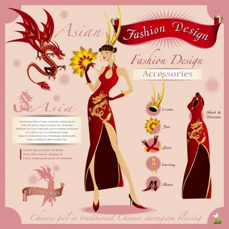 dragon rouge: Fashion Design La fille en or avec le dragon rouge