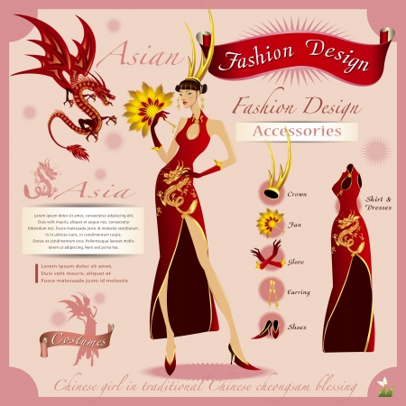 Fashion Design The golden girl with the red dragon  Vector