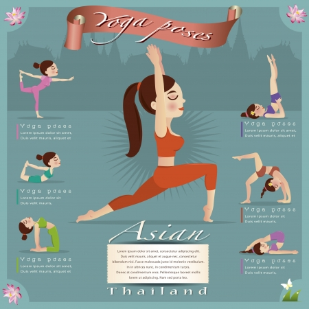 yoga class: Woman in pose practicing yoga vector illustration