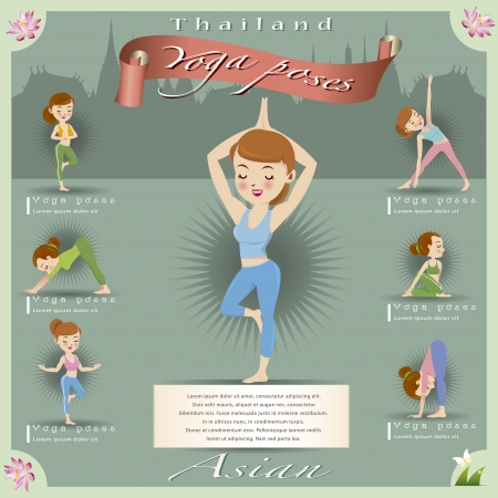 Woman in pose practicing yoga vector illustration