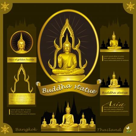 Buddha Statue infografica Vettoriali