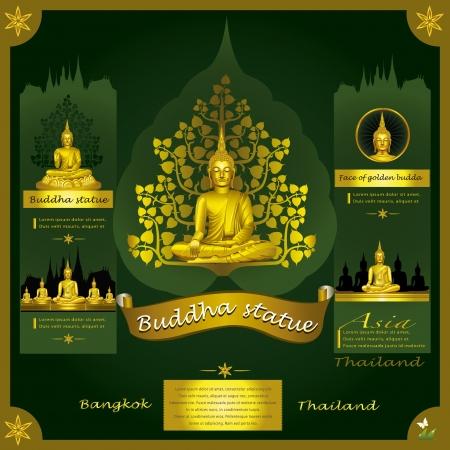 thai buddha: Estatua de Buda infograf�a Vectores