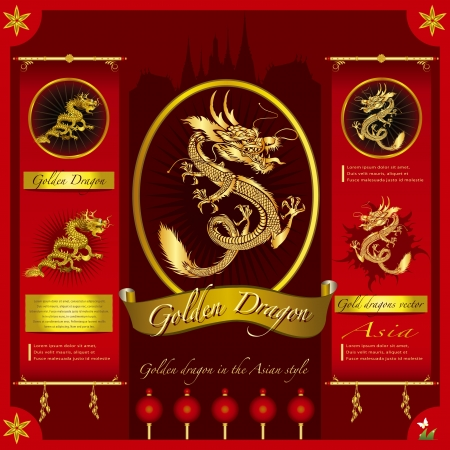 Golden Dragon on a red background   infographic Vector