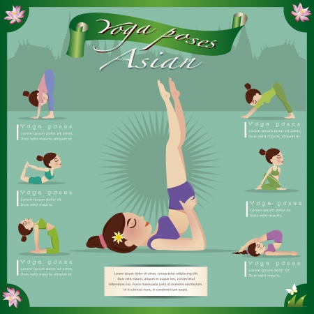 flexible woman: Woman in pose practicing yoga vector illustration
