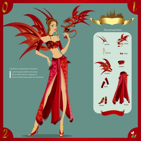 fancy dress: Fashion Design infographic The Asian nation fancy dress Illustration