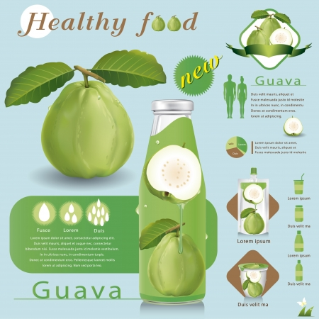food packaging: Guava juice package Illustration