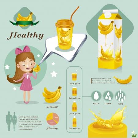 healthy woman white background: Banana juice Illustration