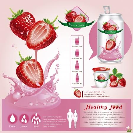 イチゴ ジュース  イラスト・ベクター素材