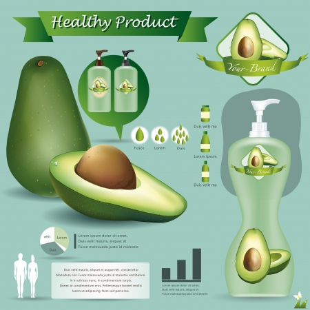 halved: Avocado package Illustration